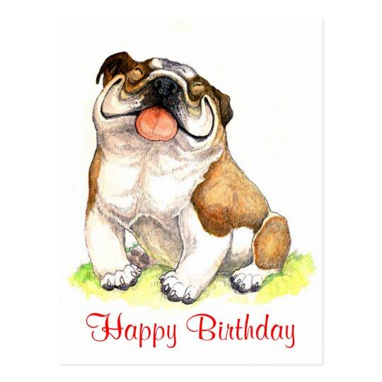 Happy Birthday Bulldog Puppy Greeting Postcard Zazzle