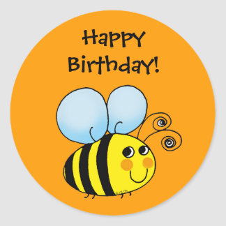 Happy Birthday Bumblebee Classic Round Sticker