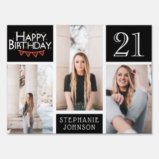 Happy Birthday Bunting Photo Collage 21st Birthday Sign