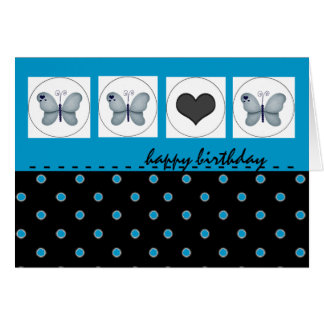 Happy Birthday Butterflies and Polka Dot Blue Card