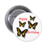 Happy  Birthday / Butterflies Pinback Buttons