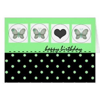 Happy Birthday Butterflies Polka Dot Green Card