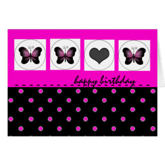 Happy Birthday Butterflies Polka Dot Hot Pink Card
