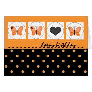 Happy Birthday Butterflies Polka Dot Orange Card