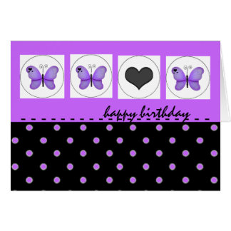 Happy Birthday Butterflies Polka Dot Purple Card