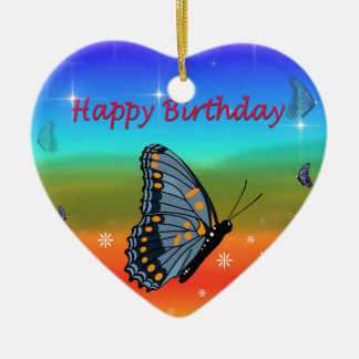 Happy Birthday Butterfly Ceramic Ornament