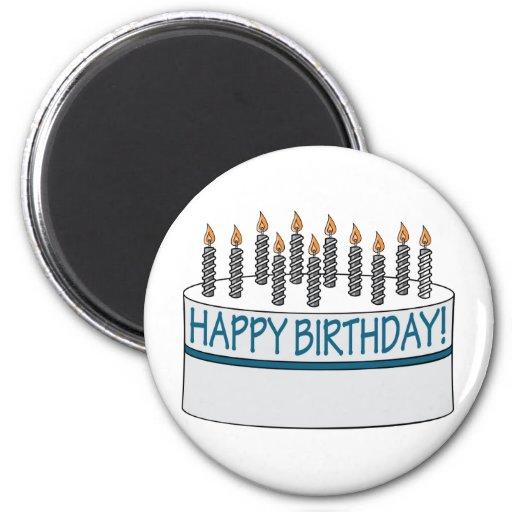 Happy Birthday Cake 2 Inch Round Magnet