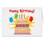 Happy Birthday Cake and Balloons Greeting Card