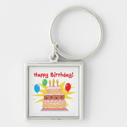 Happy Birthday Cake and Balloons Keychains