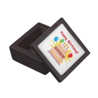 Happy Birthday Cake and Balloons Premium Jewelry Box