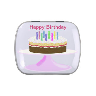 Happy birthday cake and candles candy tins