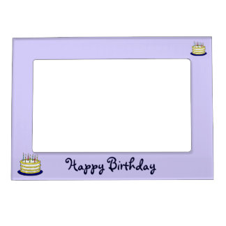 Happy Birthday Cake and Candles Magnetic Frame