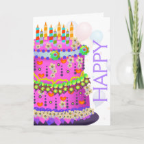 """Happy Birthday"" Cake & Balloons - Birthday Card"