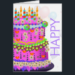"""&quot;Happy Birthday&quot; Cake &amp; Balloons - Birthday Card<br><div class=""""desc"""">A whimsical &quot;Happy Birthday&quot; Cake,  Balloons,  and confetti in bright rainbow colors. Images outside and inside.</div>"""