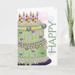 """&quot;Happy Birthday&quot; Cake &amp; Balloons - Birthday Card 2<br><div class=""""desc"""">A whimsical &quot;Happy Birthday&quot; Cake,  Balloons,  and confetti in bright rainbow colors. Images outside and inside.</div>"""