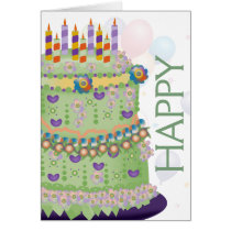 """Happy Birthday"" Cake & Balloons - Birthday Card 2"