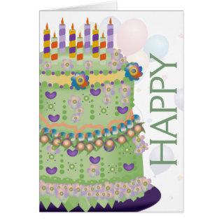 """""""Happy Birthday"""" Cake & Balloons - Birthday Card 2 at Zazzle"""