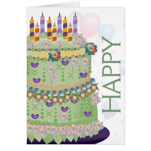 Happy Birthday Cake Balloons Birthday Card 2 Zazzlecom