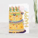 """&quot;Happy Birthday&quot; Cake &amp; Balloons - Birthday Card 4<br><div class=""""desc"""">A whimsical &quot;Happy Birthday&quot; Cake,  Balloons,  and confetti in bright rainbow colors. Images outside and inside.</div>"""