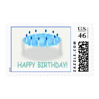 Happy Birthday Cake Blue Postage Stamps