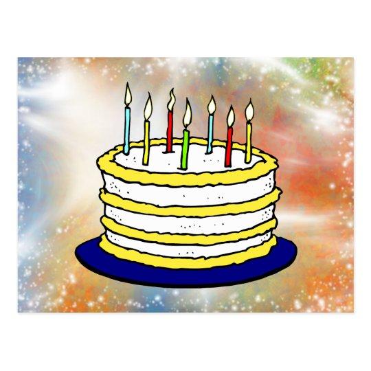 Happy Birthday Cake Bright Sparkles Postcard