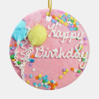 Happy Birthday Cake Ceramic Ornament