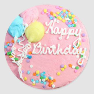 Happy Birthday Cake Classic Round Sticker