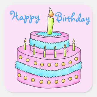 Happy Birthday Cake Customizable Pink Square Sticker