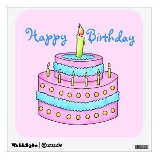 Happy Birthday Cake Customizable Pink Wall Sticker