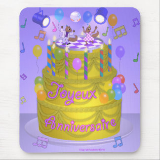 """Happy Birthday"" cake (French) Mouse Pad"
