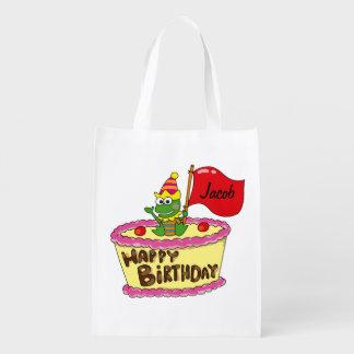 happy birthday cake frog - name customized grocery bag