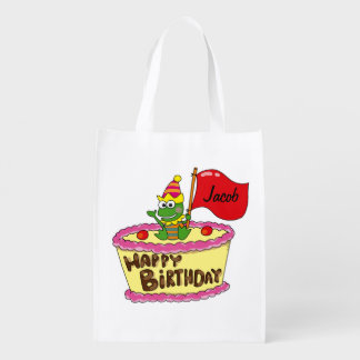 happy birthday cake frog - name customized reusable grocery bag