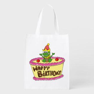 happy birthday cake frog reusable grocery bag