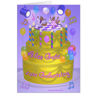 """Happy Birthday"" cake (German) Card"