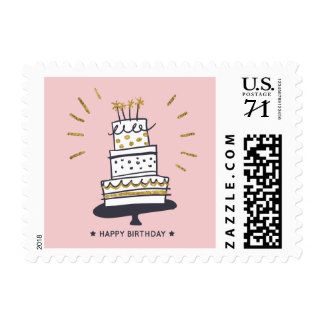 Happy Birthday cake glittery illustration Postage