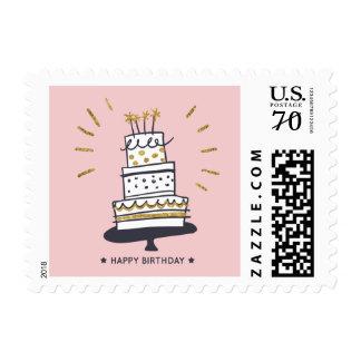 Happy Birthday cake glittery illustration Postage