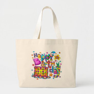 artmuvz Happy Birthday Cake Large Tote Bag