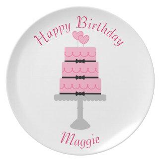 Happy Birthday Cake Melamine Plate