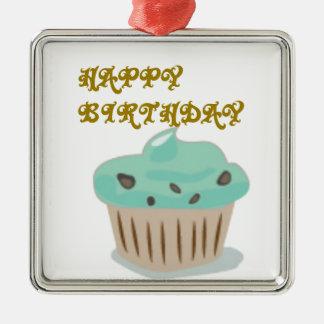 Happy Birthday Cake Metal Ornament