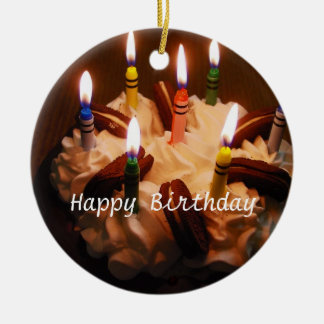 Happy Birthday Cake Double-Sided Ceramic Round Christmas Ornament