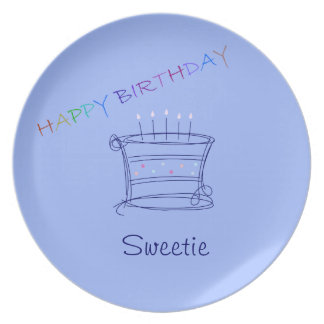 Happy Birthday Cake Plate Personalize Party Gift