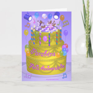 Happy Birthday Cake Portuguese Card