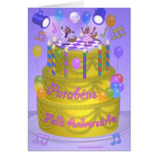 """Happy Birthday"" cake (Portuguese) Card"