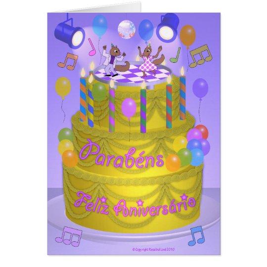 Happy Birthday cake Portuguese Card – Portuguese Birthday Cards
