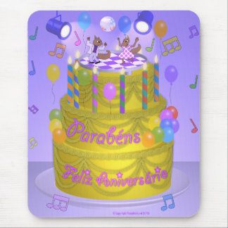 """Happy Birthday"" cake (Portuguese) Mouse Pad"