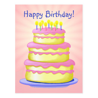 Happy Birthday Cake Postcard