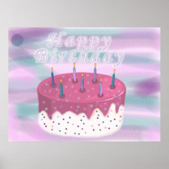 Happy Birthday Cake Poster
