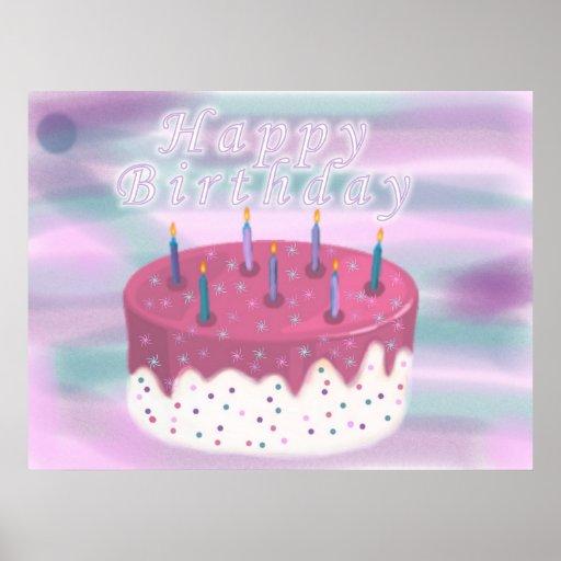 Birthday Cake Posters Art Prints : Happy Birthday Cake Print Zazzle