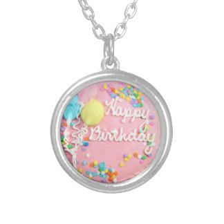 Happy Birthday Cake Round Pendant Necklace