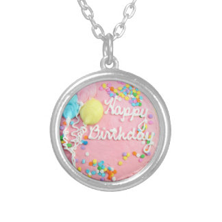 Happy Birthday Cake Silver Plated Necklace